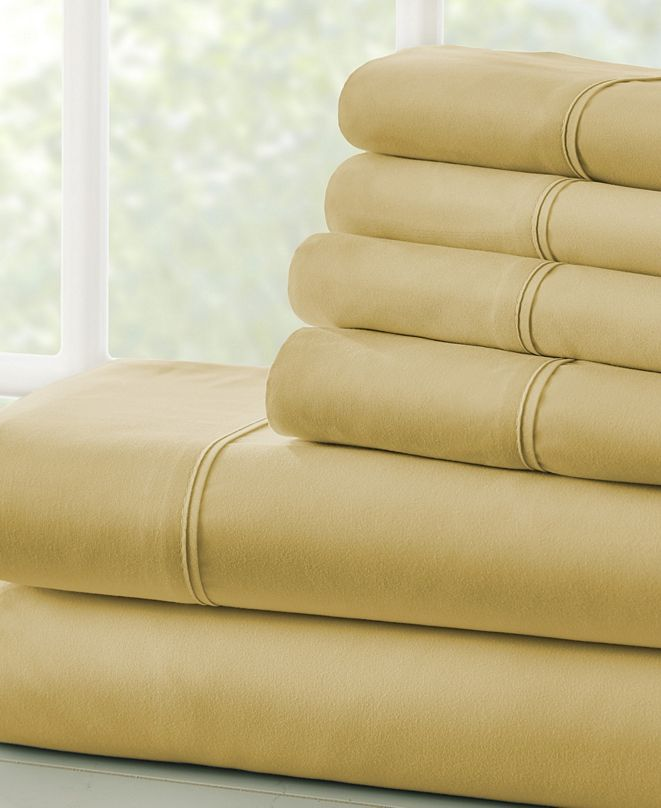 ienjoy Home Solids in Style by The Home Collection 6 Piece Bed Sheet Set, Queen