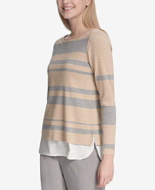 Calvin Klein Striped Layered-Look Sweater