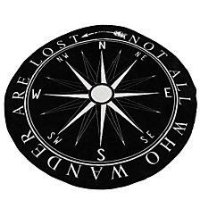 Round Jet Black Bright White Colleen Compass Printed Fleece Decorative Throw