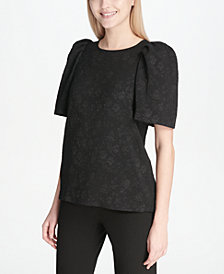 Calvin Klein Embroidered Wide-Sleeve Top