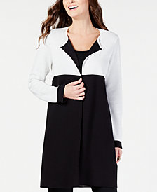 Alfani Coloblocked Open-Front Cardigan, Created for Macy's