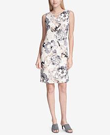 Calvin Klein Printed Chain-Detail Sleeveless Sheath Dress