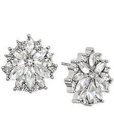 Jewel Badgley Mischka Gold-Tone Crystal Flower Stud Earrings