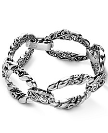 Scroll Rope Link Bracelet in Sterling Silver