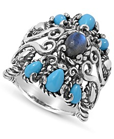 Labradorite and Turquoise Rope Ring in Sterling Silver