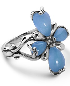 Carolyn Pollack Blue Jade Cross Ring in Sterling Silver