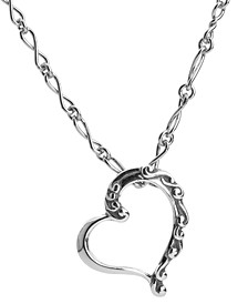 Scroll Heart Necklace in Sterling Silver