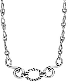 Infinity Chain Plaque Necklace in Sterling Silver