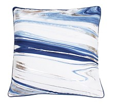 "Thro Feather Fill Kia Marble Raised Foil Pillow, 20"" x 20"""