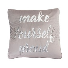 "Thro Polyester Fill Marnie Make Yourself Proud Sequin Script Velvet Pillow, 20"" x 20"""