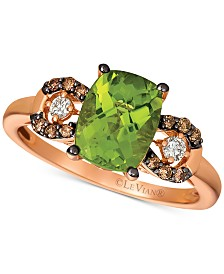 Le Vian® Green Apple Peridot (1-5/8 ct. t.w.) & Chocolate and Vanilla Diamond (1/5 ct. t.w.) Ring in 14k Rose Gold