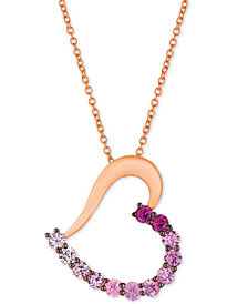 "Le Vian® Strawberry Layer Cake Multi-Gemstone Ombré Heart 18"" Pendant Necklace in 14k Rose Gold"