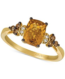 Cinnamon Citrine (1-1/3 ct. t.w.) & Vanilla and Chocolate Diamond (1/6 ct. t.w.) Ring set in 14k Gold