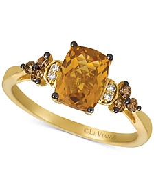 Le Vian® Cinnamon Citrine (1-1/3 ct. t.w.) & Vanilla and Chocolate Diamond (1/6 ct. t.w.) Ring set in 14k Gold