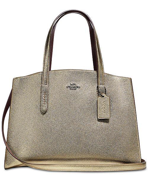 c5fc61210f COACH Charlie Medium Carryall in Pebble Leather - Handbags ...