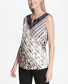 Calvin Klein Mixed-Print Split-Neck Top