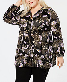 Style & Co Plus Size Printed Mesh Tunic Shirt, Created for Macy's