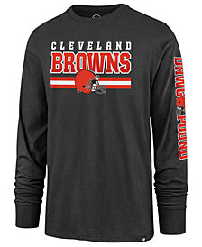 '47 Brand Men's Cleveland Browns Level Up Long Sleeve Super Rival T-Shirt