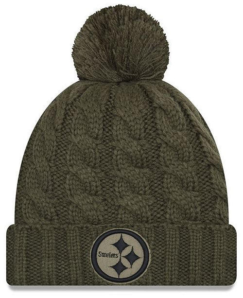 on sale 7322b 3b206 New Era Women s Pittsburgh Steelers Salute To Service Pom Knit Hat ...