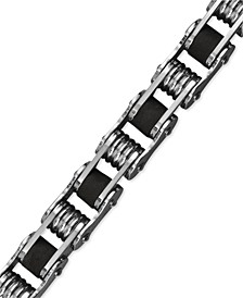 Men's Stainless Steel Bracelet, Black Resin Bicycle Chain Bracelet