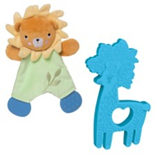 Manhattan Toy Safari Lion Lovie And Animal Shapes Llama Silicone Teether Baby Soothing Set