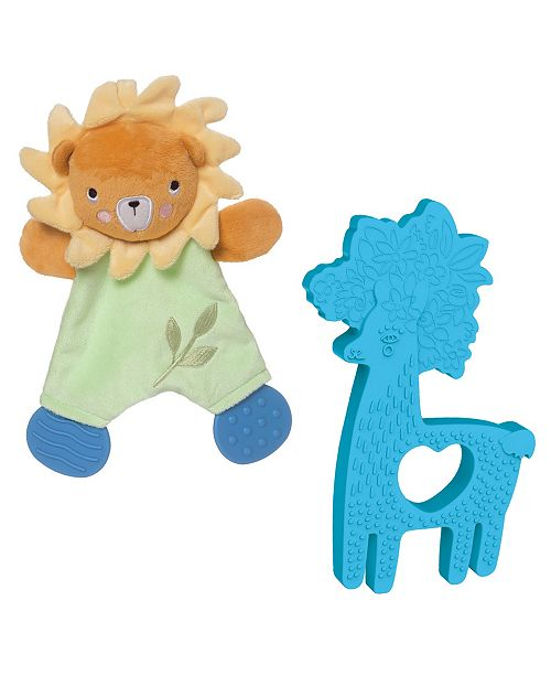 Manhattan Toy Company Manhattan Toy Safari Lion Lovie And Animal Shapes Llama Silicone Teether Baby Soothing Set