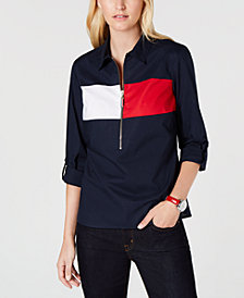 Tommy Hilfiger Cotton Brand-Flag Popover Top, Created for Macy's