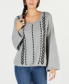 Style & Co Textured Threaded-Cable Sweater, Created for Macy's