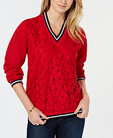 Tommy Hilfiger Lace-Front V-Neck Top, Created for Macy's