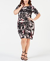 d95c2798625 Connected Plus Size Printed Faux-Wrap Sheath Dress
