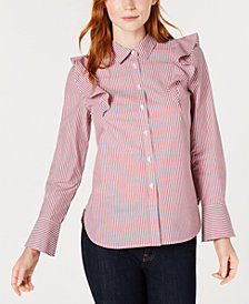 Tommy Hilfiger Cotton Striped Ruffle Blouse, Created for Macy's