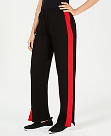 Waisted Side-Stripe Flare-Leg Pants