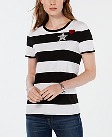 Tommy Hilfiger Striped Embellished Graphic-Patch Top, Created for Macy's