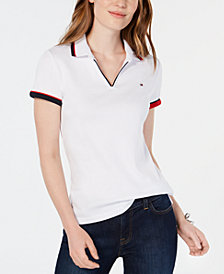 Tommy Hilfiger Cotton V-Neck Polo Top, Created for Macy's
