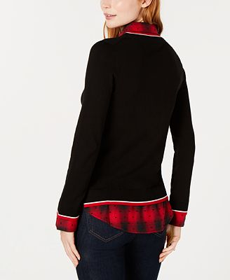 Tommy Hilfiger Plaid Layered Look Sweater Top Created For Macys