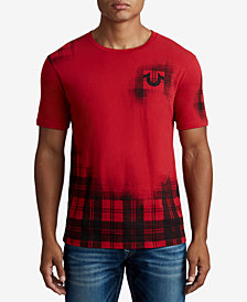 True Religion Men's Faded Plaid T-Shirt