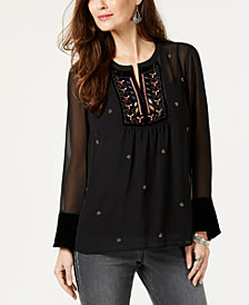 Style & Co Embroidered-Bib Beaded Blouse, Created for Macy's