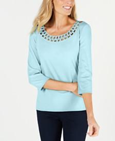 Karen Scott Cotton Link-Collar T-Shirt, Created for Macy's