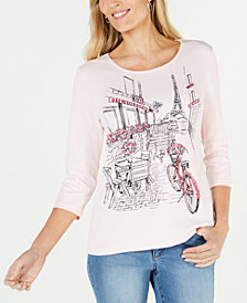 Karen Scott Printed Paris 3/4-Sleeve Top, Created for Macy's