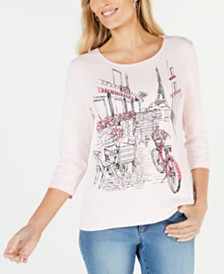 Karen Scott Printed Paris 3/4-Sleeve Top, Created for Macy's