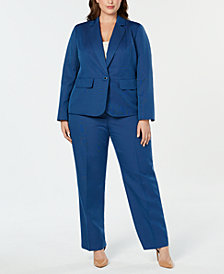 Le Suit Plus Size One-Button Pantsuit