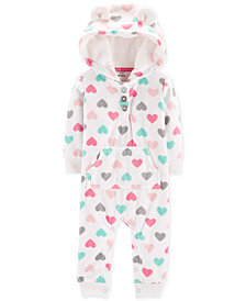 Carter's Baby Girls Hooded Heart-Print Fleece Coverall