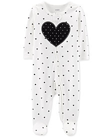 Carter's Baby & Girls 1-Pc. Heart Cotton Footed Pajamas