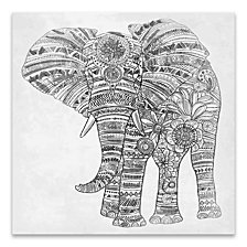 Elephant Walk Black and White Printed Canvas