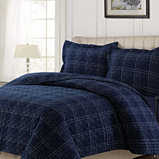 Oxford Plaid Cotton Flannel Printed Oversized Queen Quilt Set