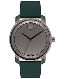 Movado Men's Swiss BOLD Green Leather Strap Watch 41mm