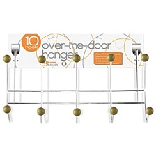 Home Basics 5 Wooden Dual Hook Over the Door Steel Organizing Rack