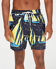 "Tommy Hilfiger Men's Dock Sailboat-Print 6.5"" Swim Trunks, Created for Macy's"
