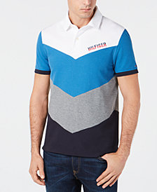 Tommy Hilfiger Men's Lester Custom-Fit Colorblocked Chevron Polo, Created for Macy's