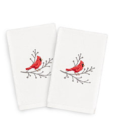 Linum Home Christmas Cardinal 100% Turkish Cotton 2-Pc. Hand Towel Set